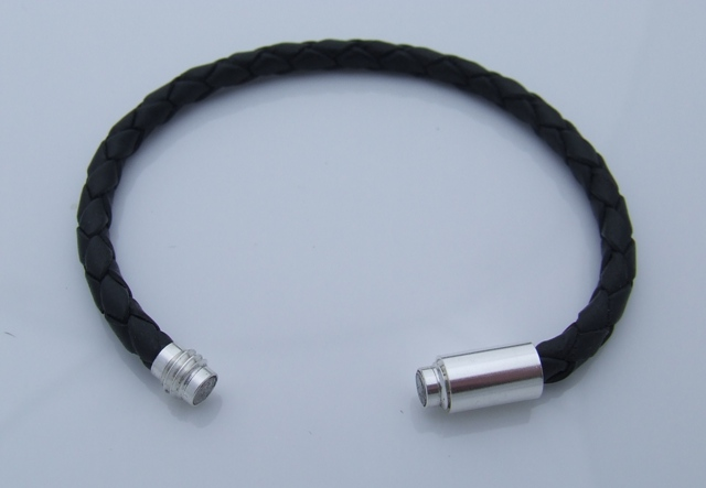 Black Leather Bracelet With Sterling Silver Magnetic Clasp